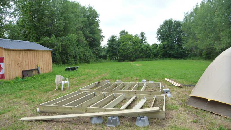 This is the deck I build that first spring. Notice how I build it in two sections.