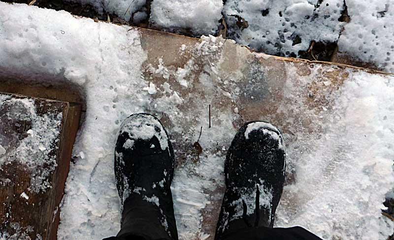 Ice on the step. Wha???