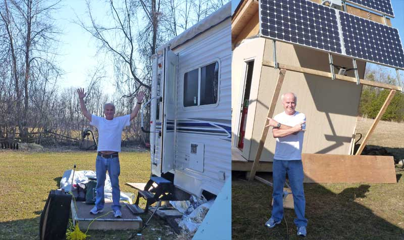 Trailer is critter free. Solar system survives its first winter alone.