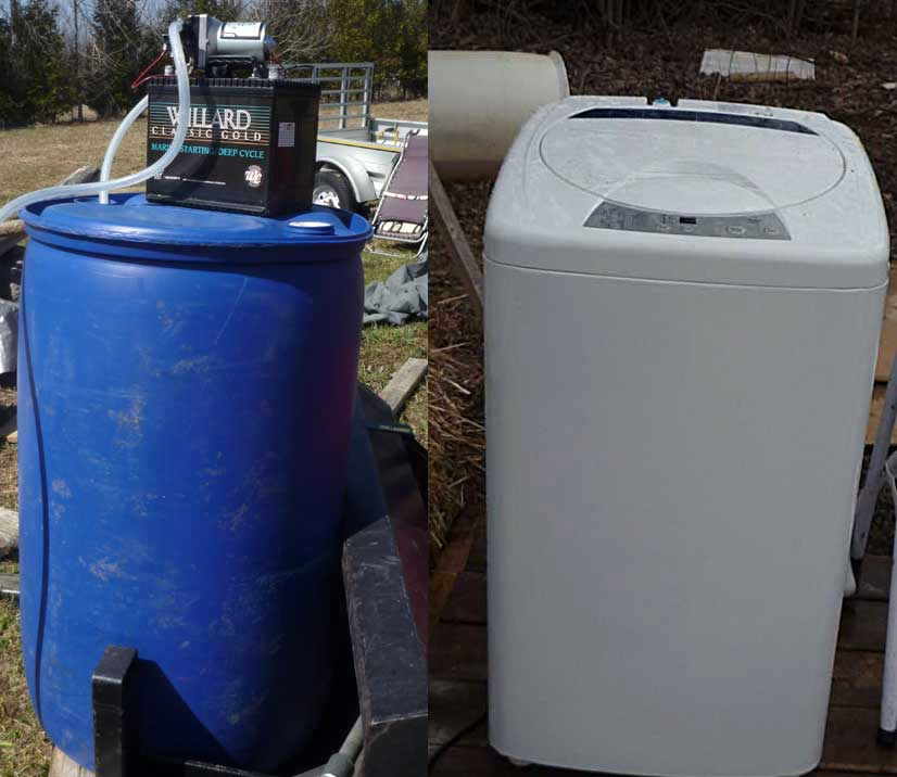 First a 50 gallon barrel for transporting water from the well. And a laundry washer.