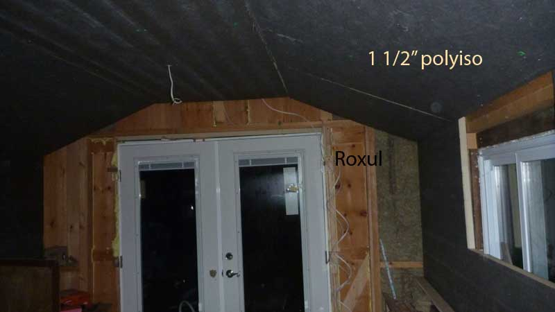 "Insulating the studio. Add 4"" roxul, cover with 1.5"" polyiso. Fill gaps with foam. Easy."