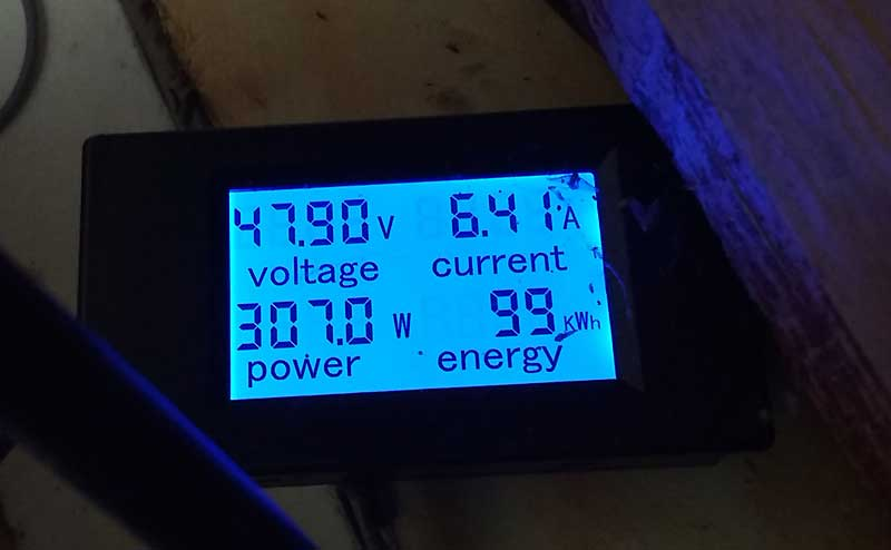 99 kws sent from the batteries to the inverter.